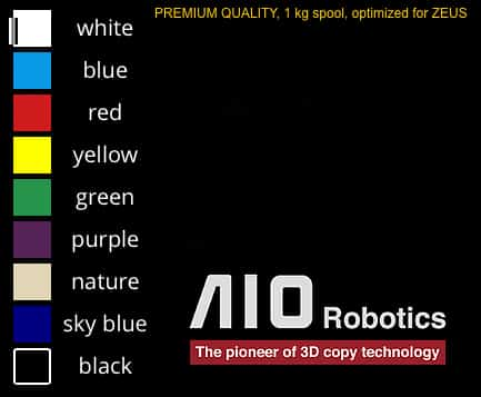 AIO Robotics Zeus 3D Printer Filament Color Code